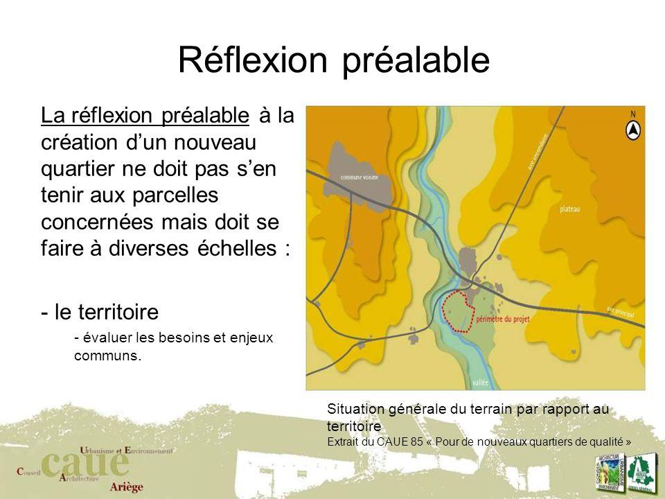 1 Réflexion préalable La réflexion préalable à la création dun nouveau quartier ne doit pas sen tenir aux parcelles concernées mais doit se faire à diverses échelles : - le territoire - évaluer les besoins et enjeux communs.