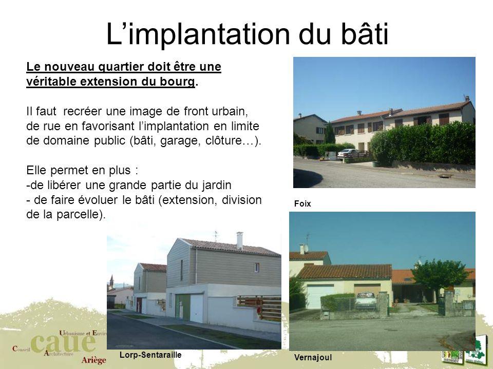 6 Limplantation du bâti Foix Vernajoul Lorp-Sentaraille Le nouveau quartier doit être une véritable extension du bourg.