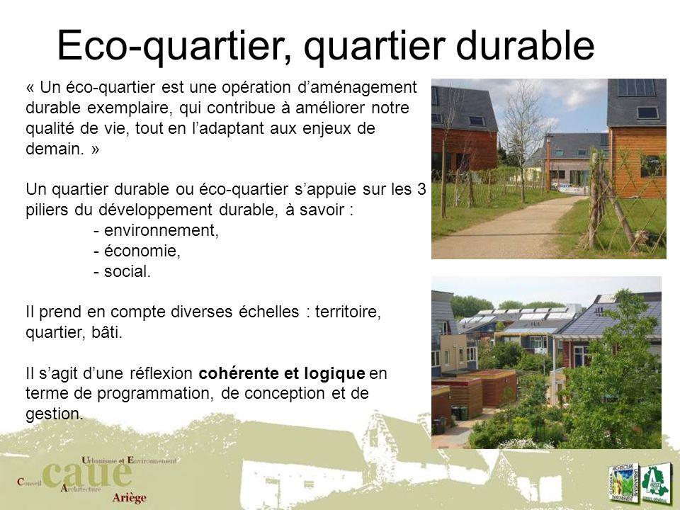 9 Eco-quartier, quartier durable « Un éco-quartier est une opération daménagement durable exemplaire, qui contribue à améliorer notre qualité de vie, tout en ladaptant aux enjeux de demain.