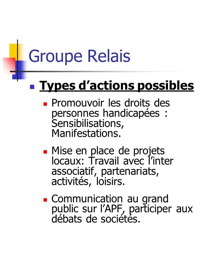 Groupe Relais Types dactions possibles Promouvoir les droits des personnes handicapées : Sensibilisations, Manifestations.