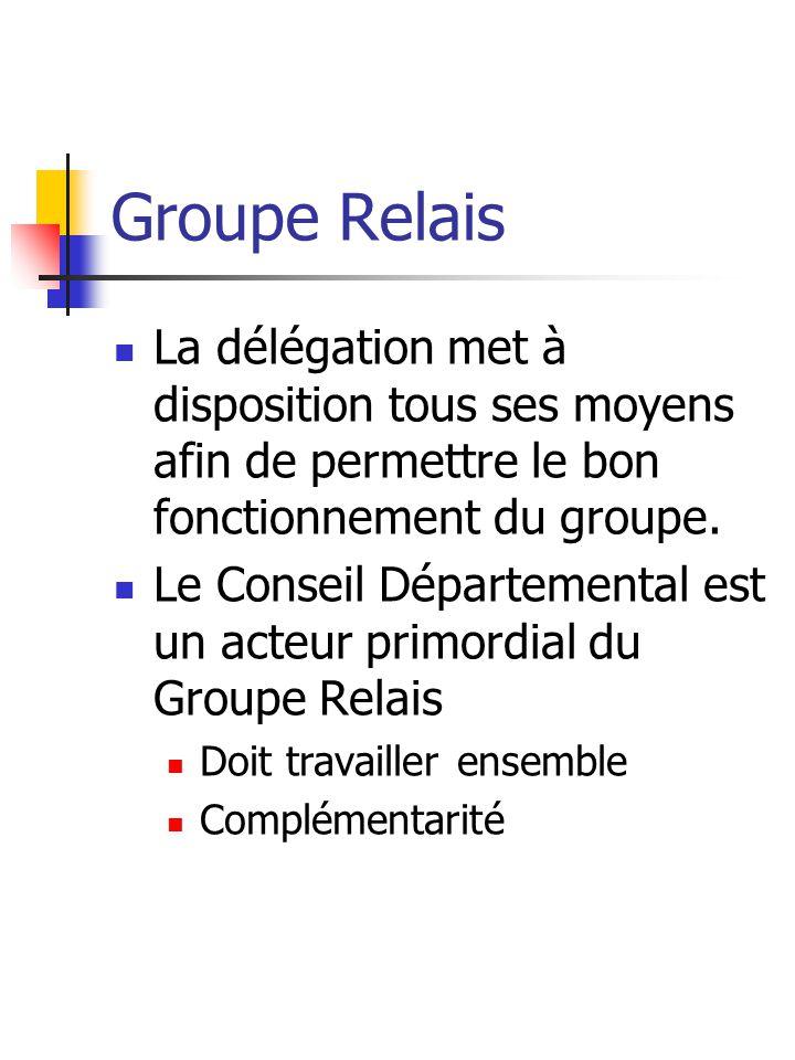Groupe Relais La délégation met à disposition tous ses moyens afin de permettre le bon fonctionnement du groupe.