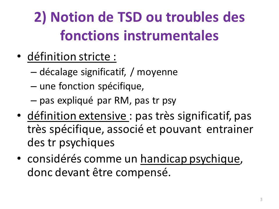 2) Notion de TSD ou troubles des fonctions instrumentales définition stricte : – décalage significatif, / moyenne – une fonction spécifique, – pas exp