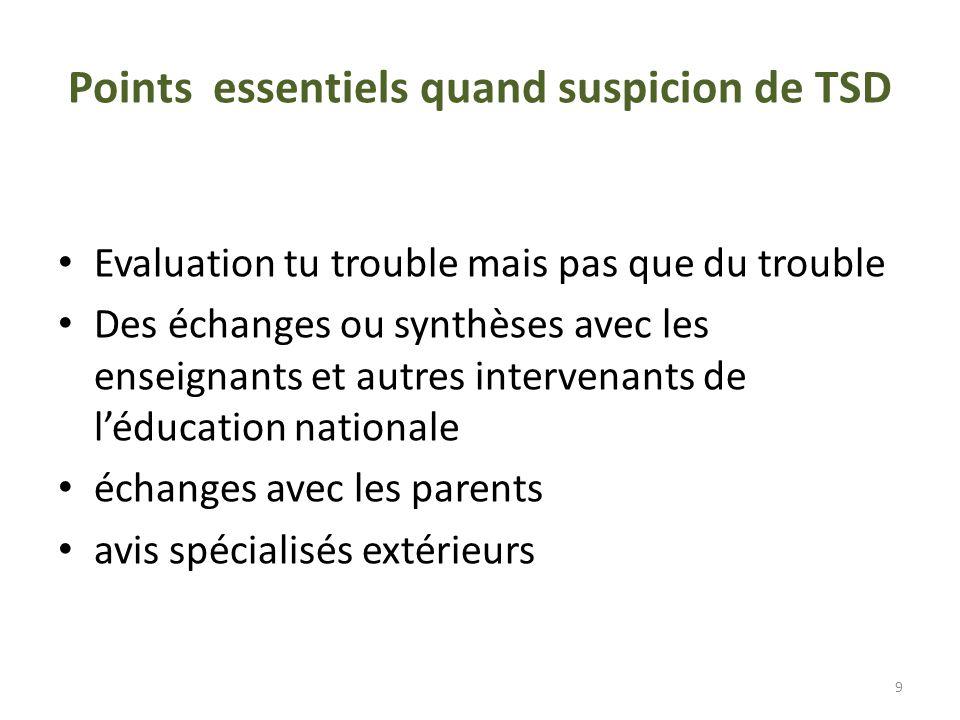 Points essentiels quand suspicion de TSD Evaluation tu trouble mais pas que du trouble Des échanges ou synthèses avec les enseignants et autres intervenants de léducation nationale échanges avec les parents avis spécialisés extérieurs 9