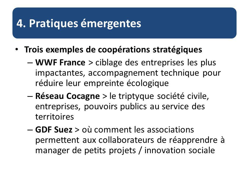 4. Pratiques émergentes Trois exemples de coopérations stratégiques – WWF France > ciblage des entreprises les plus impactantes, accompagnement techni