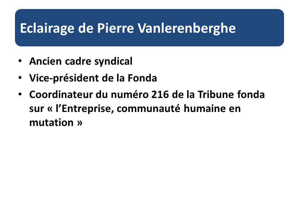 Eclairage de Pierre Vanlerenberghe Ancien cadre syndical Vice-président de la Fonda Coordinateur du numéro 216 de la Tribune fonda sur « lEntreprise, communauté humaine en mutation »
