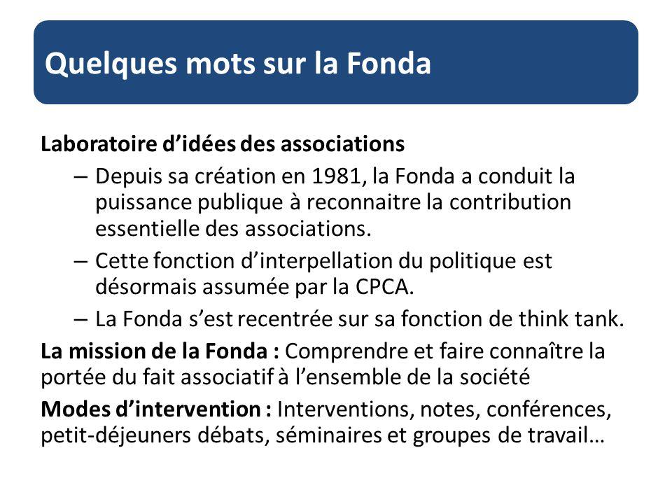 Quelques mots sur la Fonda Laboratoire didées des associations – Depuis sa création en 1981, la Fonda a conduit la puissance publique à reconnaitre la contribution essentielle des associations.
