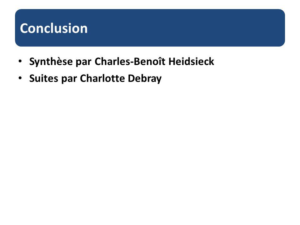 Conclusion Synthèse par Charles-Benoît Heidsieck Suites par Charlotte Debray