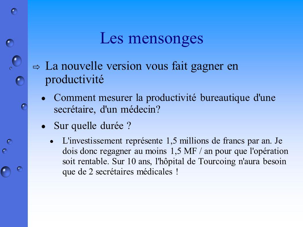 Les mensonges La nouvelle version vous fait gagner en productivité Comment mesurer la productivité bureautique d une secrétaire, d un médecin.