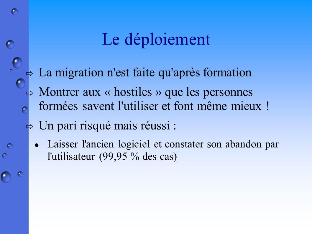 Le déploiement La migration n est faite qu après formation Montrer aux « hostiles » que les personnes formées savent l utiliser et font même mieux .