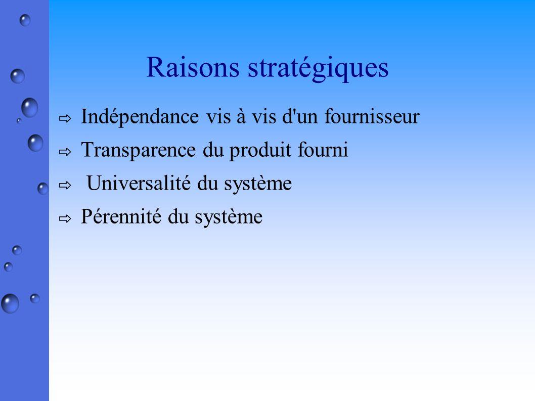 Raisons stratégiques Indépendance vis à vis d un fournisseur Transparence du produit fourni Universalité du système Pérennité du système