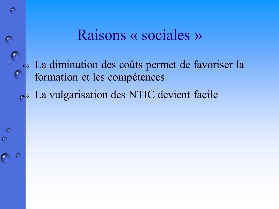Raisons « sociales » La diminution des coûts permet de favoriser la formation et les compétences La vulgarisation des NTIC devient facile