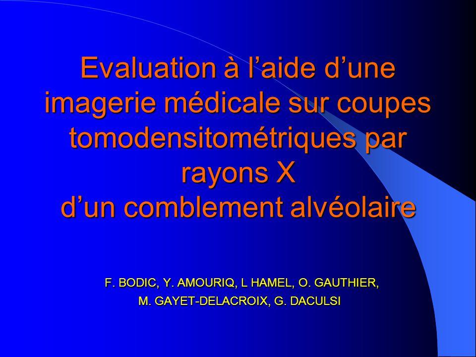 Evaluation à laide dune imagerie médicale sur coupes tomodensitométriques par rayons X dun comblement alvéolaire F. BODIC, Y. AMOURIQ, L HAMEL, O. GAU