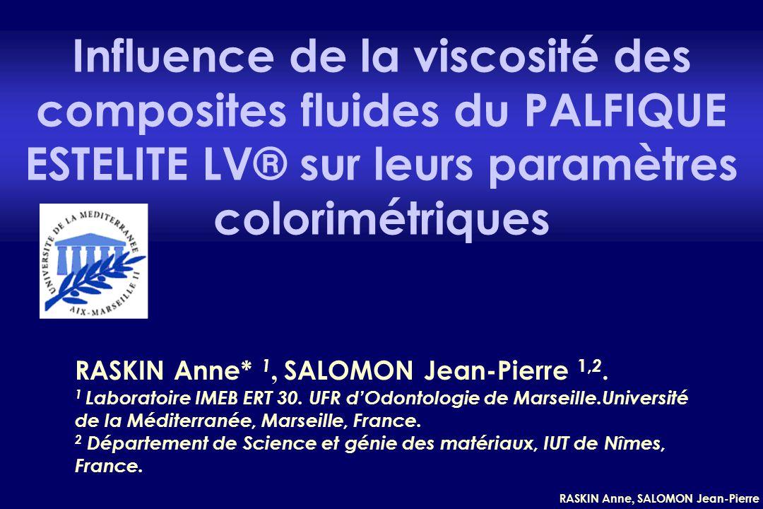 RASKIN Anne, SALOMON Jean-Pierre OBJECTIFS : Influence de la viscosité >< paramètres colorimétriques Le PALFIQUE ESTELITE® (Tokuyama) : résine composite fluide 3 couleurs (A1, A2, A3) 2 viscosités (Low Flow-LF et High Flow-HF) INTRODUCTION :