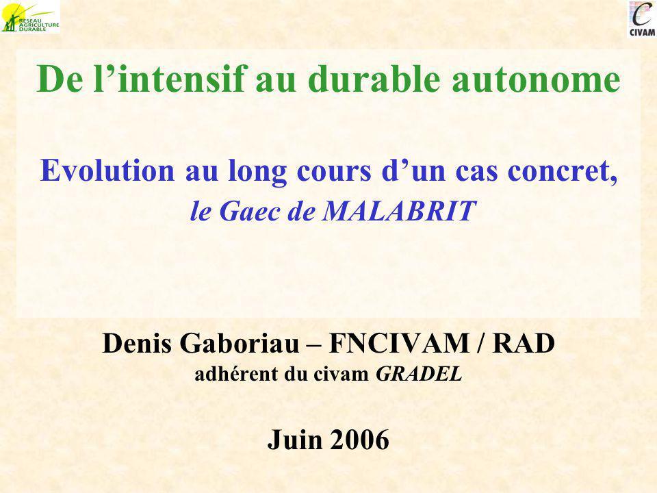 De lintensif au durable autonome Evolution au long cours dun cas concret, le Gaec de MALABRIT Denis Gaboriau – FNCIVAM / RAD adhérent du civam GRADEL