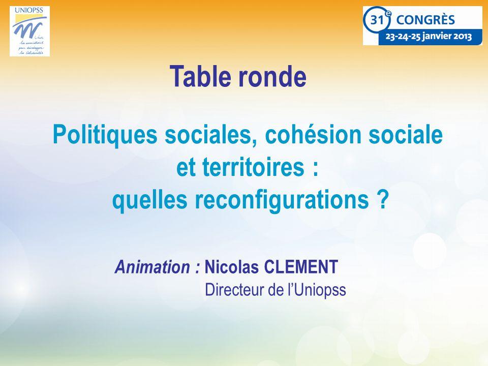 Politiques sociales, cohésion sociale et territoires : quelles reconfigurations .