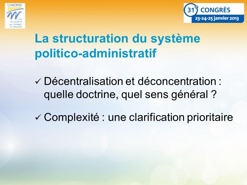 La structuration du système politico-administratif Décentralisation et déconcentration : quelle doctrine, quel sens général .