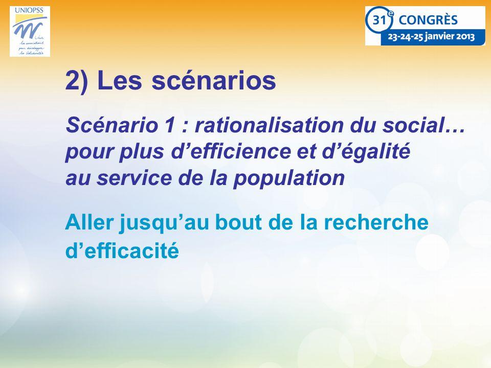 2) Les scénarios Scénario 1 : rationalisation du social… pour plus defficience et dégalité au service de la population Aller jusquau bout de la recherche defficacité