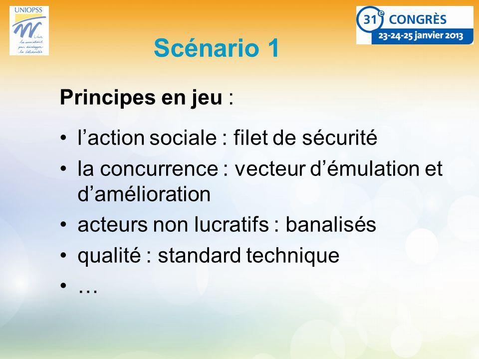 Scénario 1 Principes en jeu : laction sociale : filet de sécurité la concurrence : vecteur démulation et damélioration acteurs non lucratifs : banalisés qualité : standard technique …