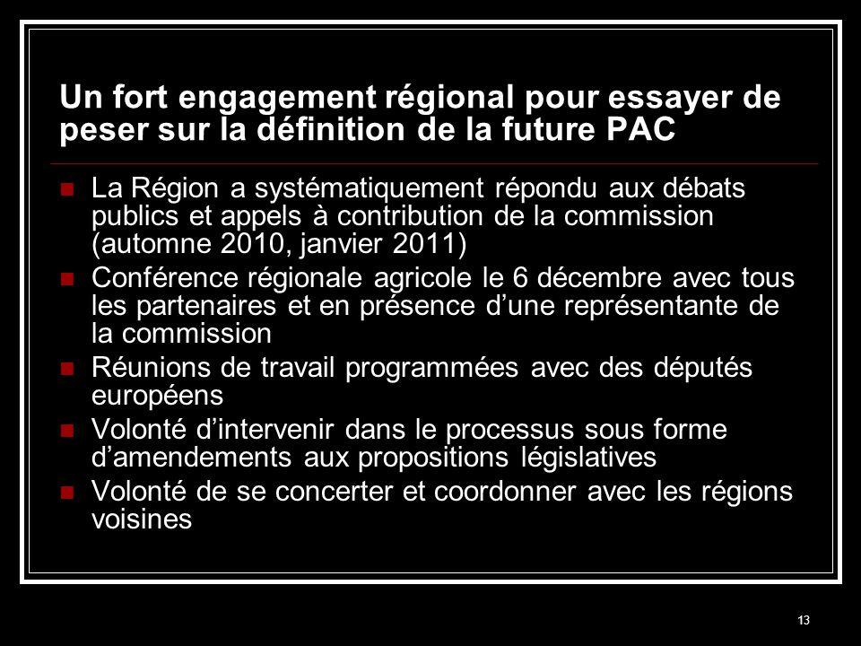 13 Un fort engagement régional pour essayer de peser sur la définition de la future PAC La Région a systématiquement répondu aux débats publics et app
