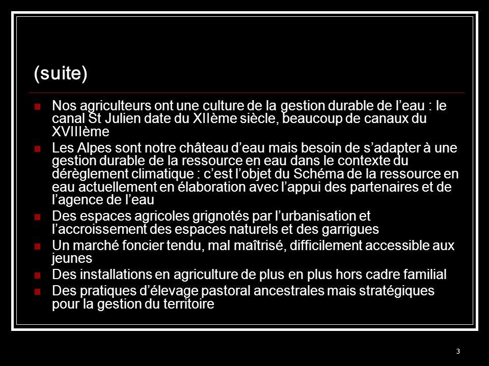 3 (suite) Nos agriculteurs ont une culture de la gestion durable de leau : le canal St Julien date du XIIème siècle, beaucoup de canaux du XVIIIème Les Alpes sont notre château deau mais besoin de sadapter à une gestion durable de la ressource en eau dans le contexte du dérèglement climatique : cest lobjet du Schéma de la ressource en eau actuellement en élaboration avec lappui des partenaires et de lagence de leau Des espaces agricoles grignotés par lurbanisation et laccroissement des espaces naturels et des garrigues Un marché foncier tendu, mal maîtrisé, difficilement accessible aux jeunes Des installations en agriculture de plus en plus hors cadre familial Des pratiques délevage pastoral ancestrales mais stratégiques pour la gestion du territoire