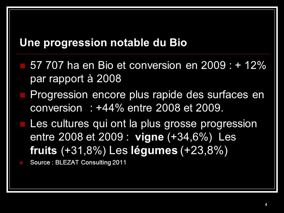 4 Une progression notable du Bio 57 707 ha en Bio et conversion en 2009 : + 12% par rapport à 2008 Progression encore plus rapide des surfaces en conversion : +44% entre 2008 et 2009.