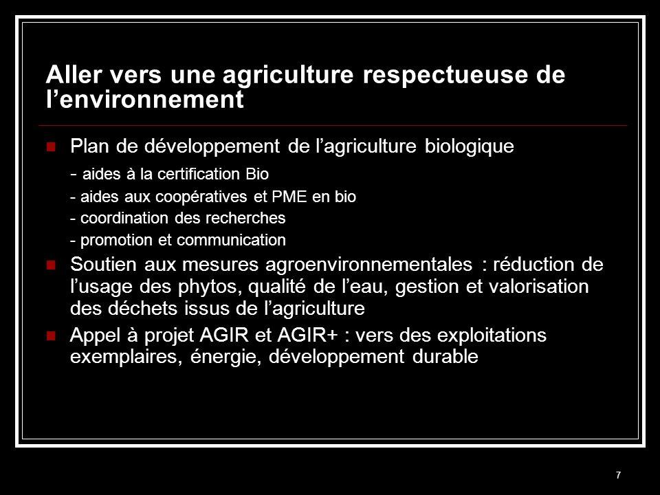 7 Aller vers une agriculture respectueuse de lenvironnement Plan de développement de lagriculture biologique - aides à la certification Bio - aides au