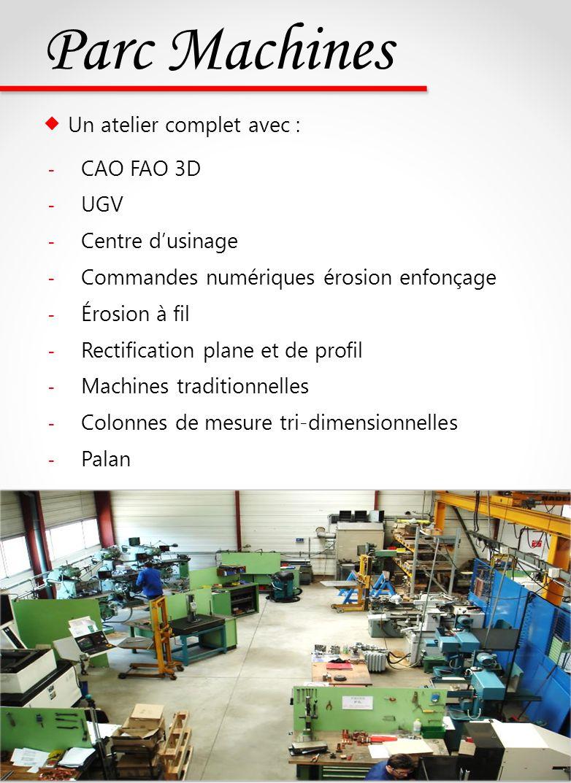 Parc Machines Un atelier complet avec : - CAO FAO 3D - UGV - Centre dusinage - Commandes numériques érosion enfonçage - Érosion à fil - Rectification