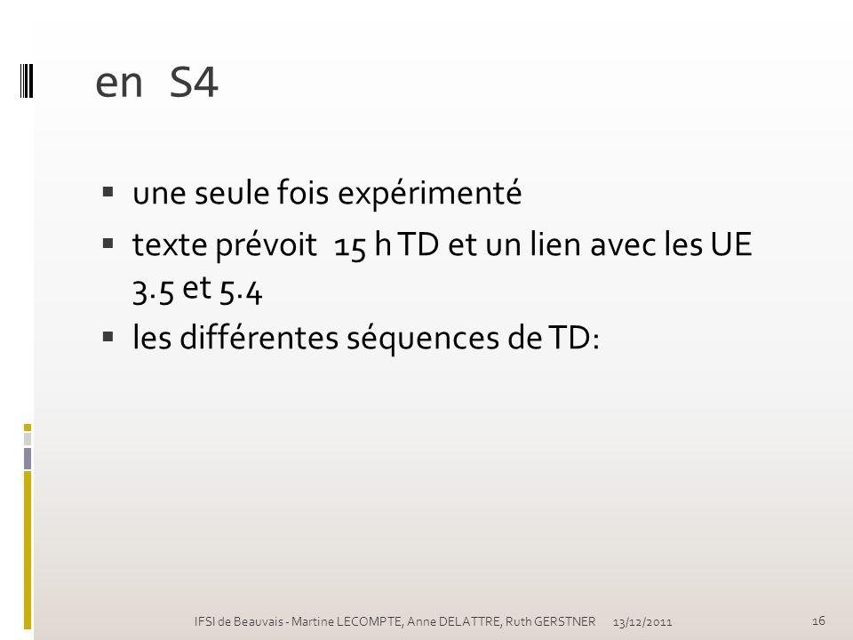 en S4 une seule fois expérimenté texte prévoit 15 h TD et un lien avec les UE 3.5 et 5.4 les différentes séquences de TD: 13/12/2011 16 IFSI de Beauva
