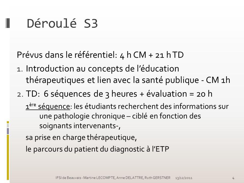 Déroulé S3 Prévus dans le référentiel: 4 h CM + 21 h TD 1. Introduction au concepts de léducation thérapeutiques et lien avec la santé publique - CM 1