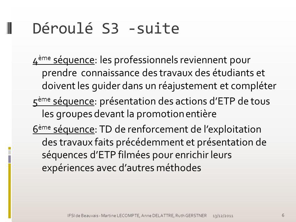 Déroulé S3 -suite 4 ème séquence: les professionnels reviennent pour prendre connaissance des travaux des étudiants et doivent les guider dans un réaj