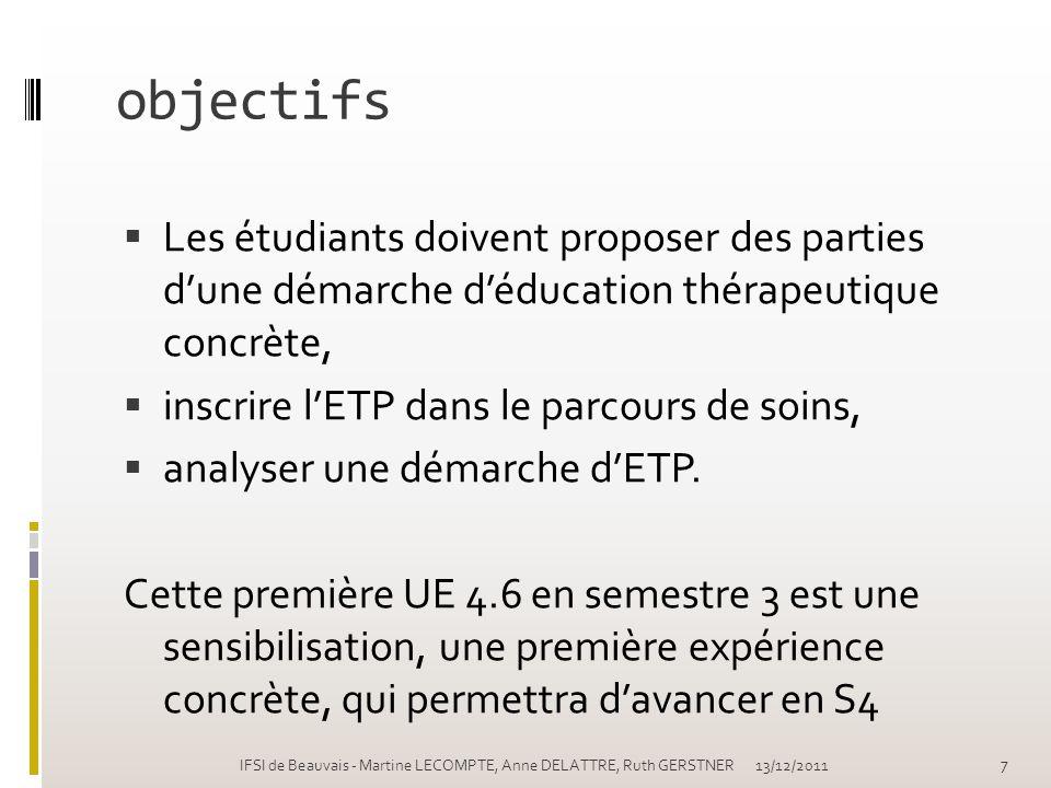 objectifs Les étudiants doivent proposer des parties dune démarche déducation thérapeutique concrète, inscrire lETP dans le parcours de soins, analyse
