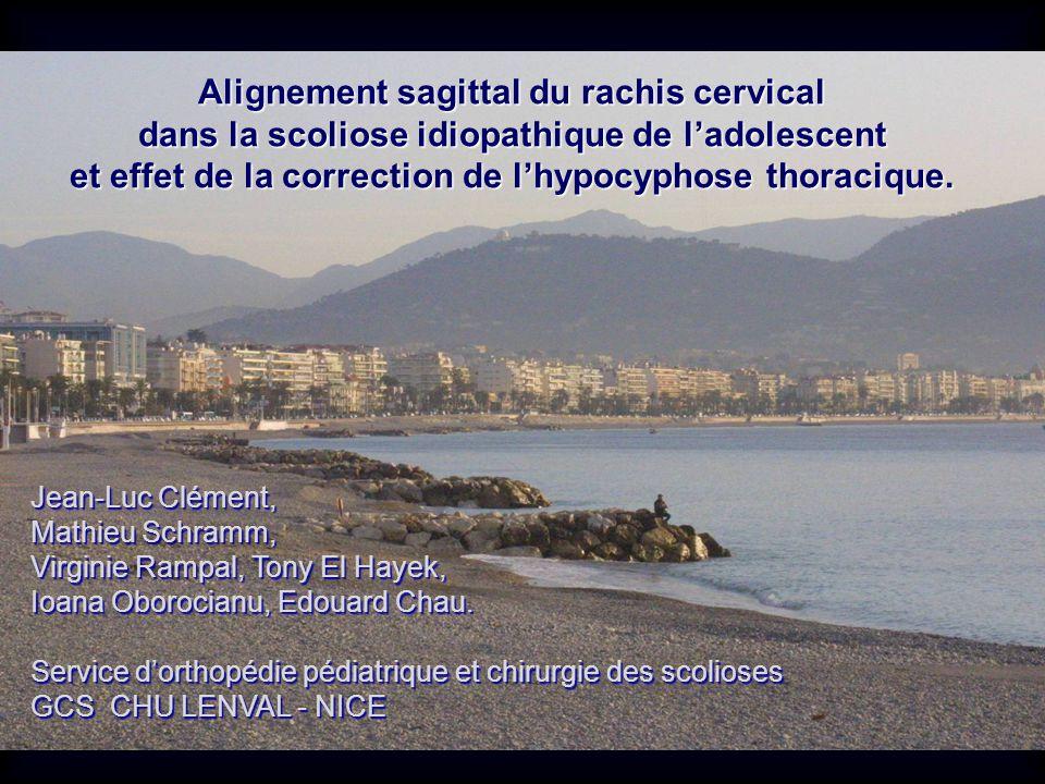 Alignement sagittal du rachis cervical dans la scoliose idiopathique de ladolescent et effet de la correction de lhypocyphose thoracique. Jean-Luc Clé