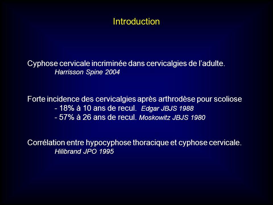 Cyphose cervicale incriminée dans cervicalgies de ladulte. Harrisson Spine 2004 Forte incidence des cervicalgies après arthrodèse pour scoliose - 18%