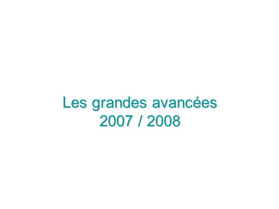 Les grandes avancées 2007 / 2008