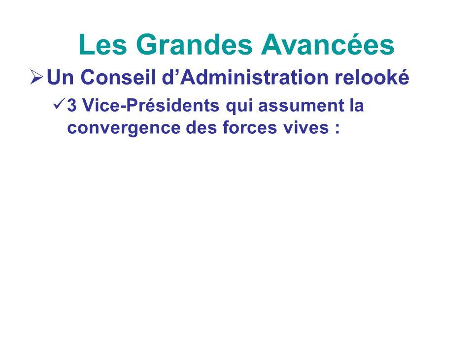 Les Grandes Avancées Un Conseil dAdministration relooké 3 Vice-Présidents qui assument la convergence des forces vives :