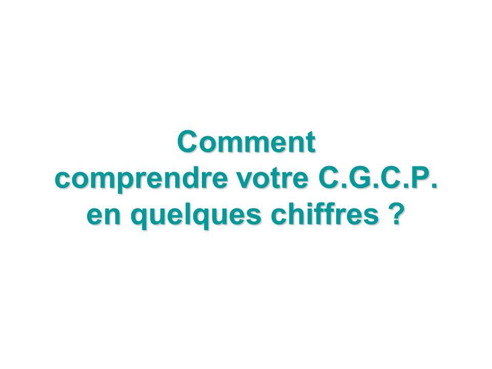 Comment comprendre votre C.G.C.P. en quelques chiffres ?