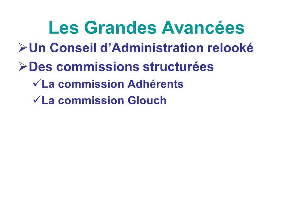 Les Grandes Avancées Un Conseil dAdministration relooké Des commissions structurées La commission Adhérents La commission Glouch