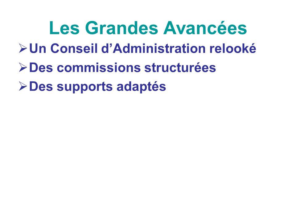 Les Grandes Avancées Un Conseil dAdministration relooké Des commissions structurées Des supports adaptés