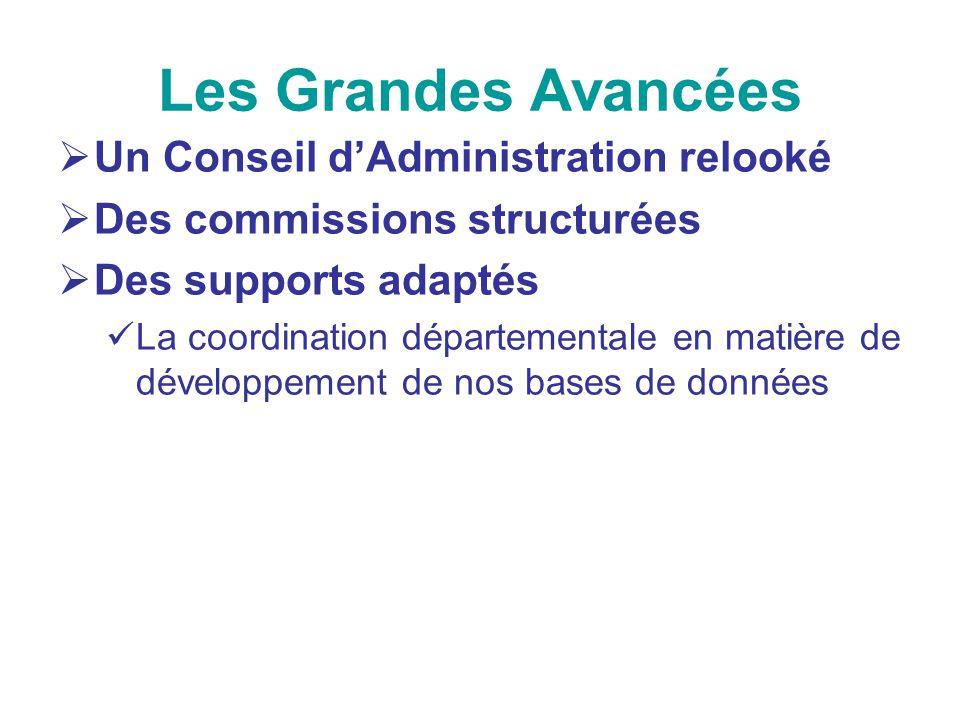 Les Grandes Avancées Un Conseil dAdministration relooké Des commissions structurées Des supports adaptés La coordination départementale en matière de
