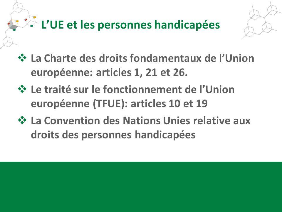 LUE et les personnes handicapées La Charte des droits fondamentaux de lUnion européenne: articles 1, 21 et 26. Le traité sur le fonctionnement de lUni