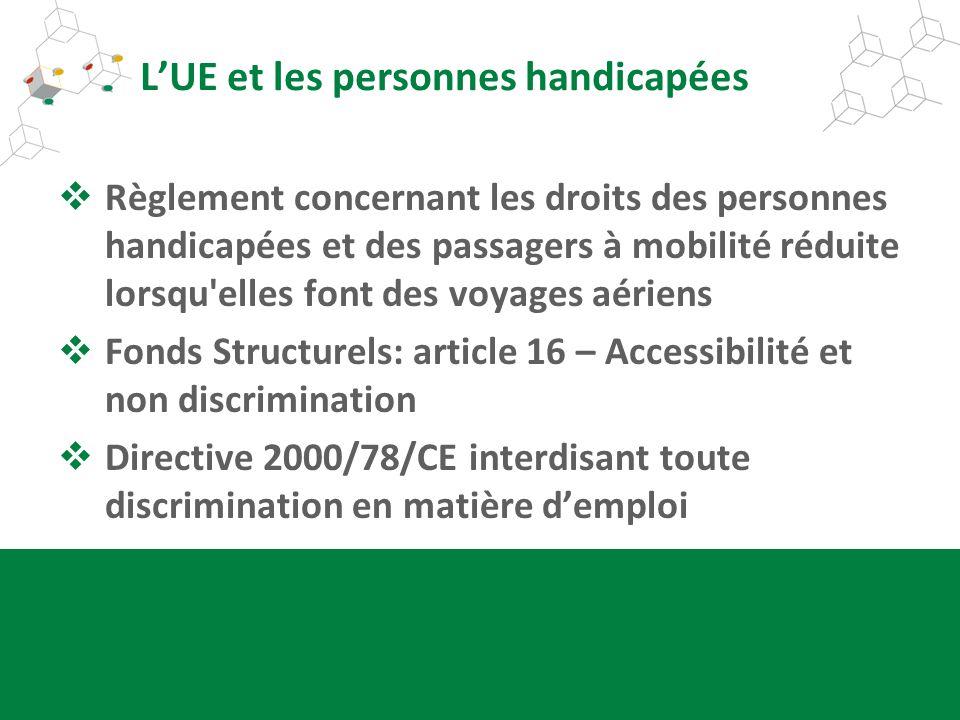 LUE et les personnes handicapées Règlement concernant les droits des personnes handicapées et des passagers à mobilité réduite lorsqu'elles font des v