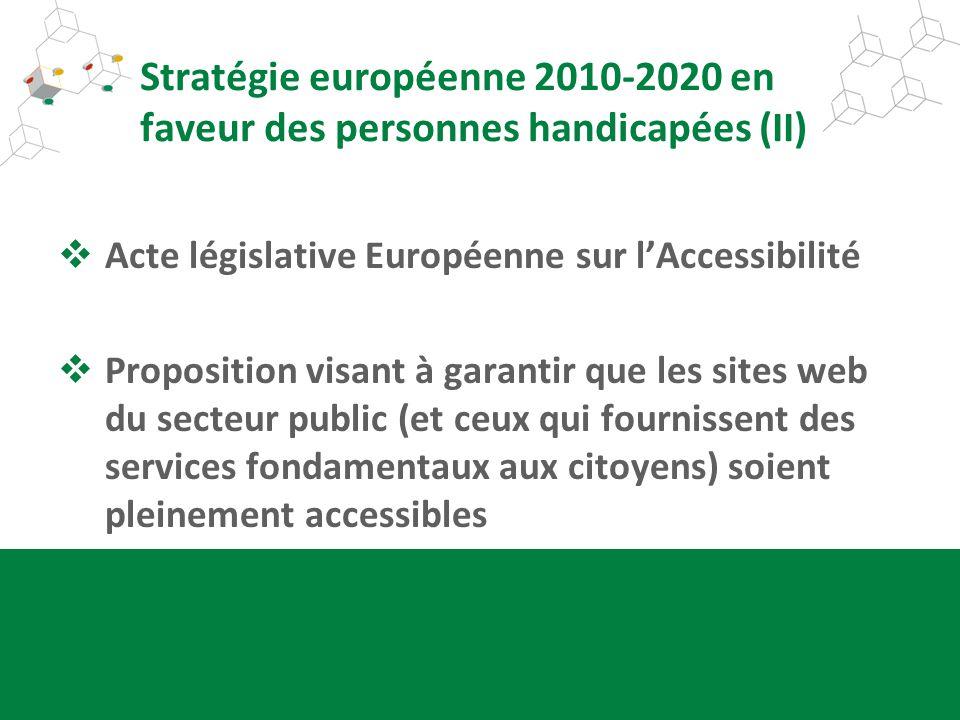 Stratégie européenne 2010-2020 en faveur des personnes handicapées (II) Acte législative Européenne sur lAccessibilité Proposition visant à garantir q