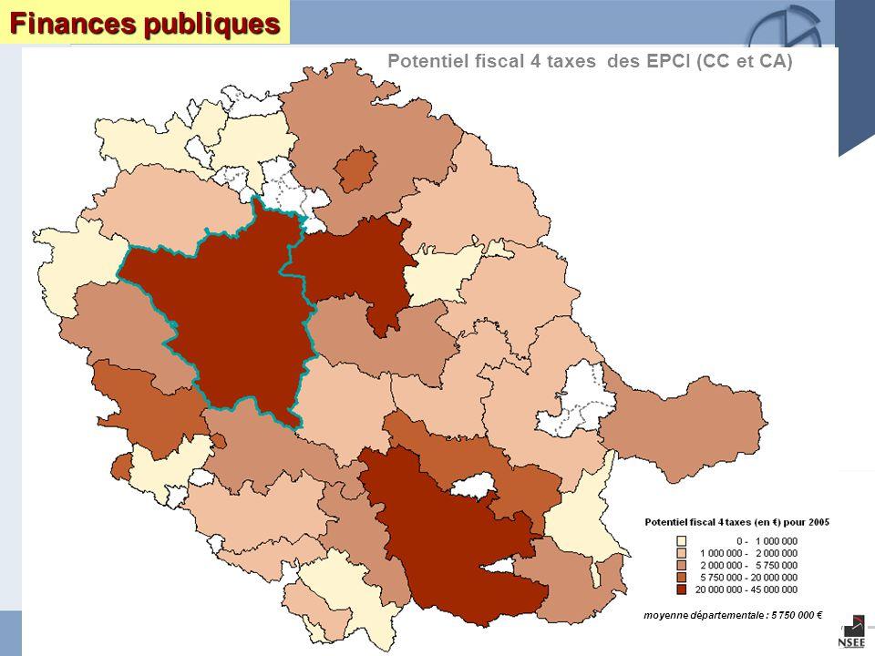 Page 14 Le Tarn : enjeux et perspectives DRAF DRE DIREN INSEEseptembre 2005 Finances publiques Potentiel fiscal 4 taxes des EPCI (CC et CA) moyenne départementale : 5 750 000