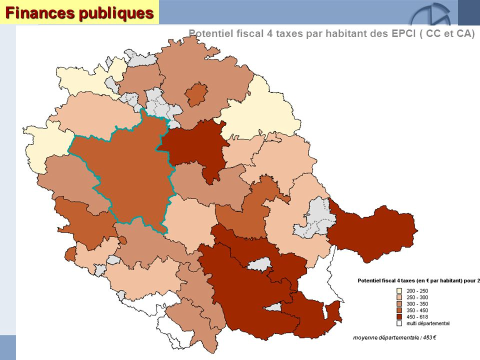 Page 15 Le Tarn : enjeux et perspectives DRAF DRE DIREN INSEEseptembre 2005 Finances publiques Potentiel fiscal 4 taxes par habitant des EPCI ( CC et CA) moyenne départementale : 453