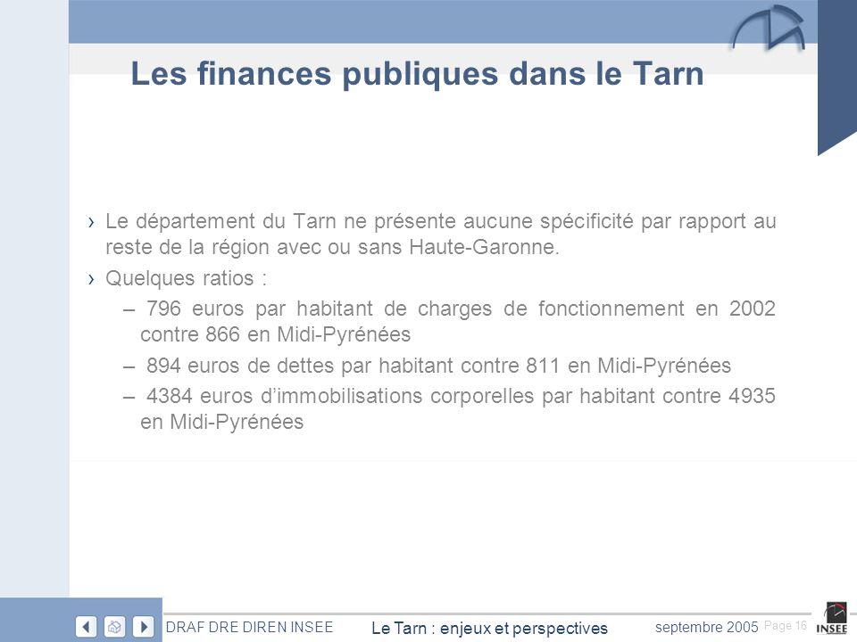Page 16 Le Tarn : enjeux et perspectives DRAF DRE DIREN INSEEseptembre 2005 Les finances publiques dans le Tarn Le département du Tarn ne présente aucune spécificité par rapport au reste de la région avec ou sans Haute-Garonne.