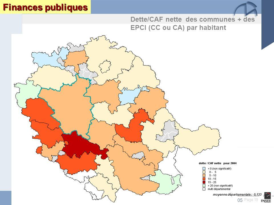 Page 19 Le Tarn : enjeux et perspectives DRAF DRE DIREN INSEEseptembre 2005 Finances publiques Dette/CAF nette des communes + des EPCI (CC ou CA) par habitant moyenne départementale : 0,133