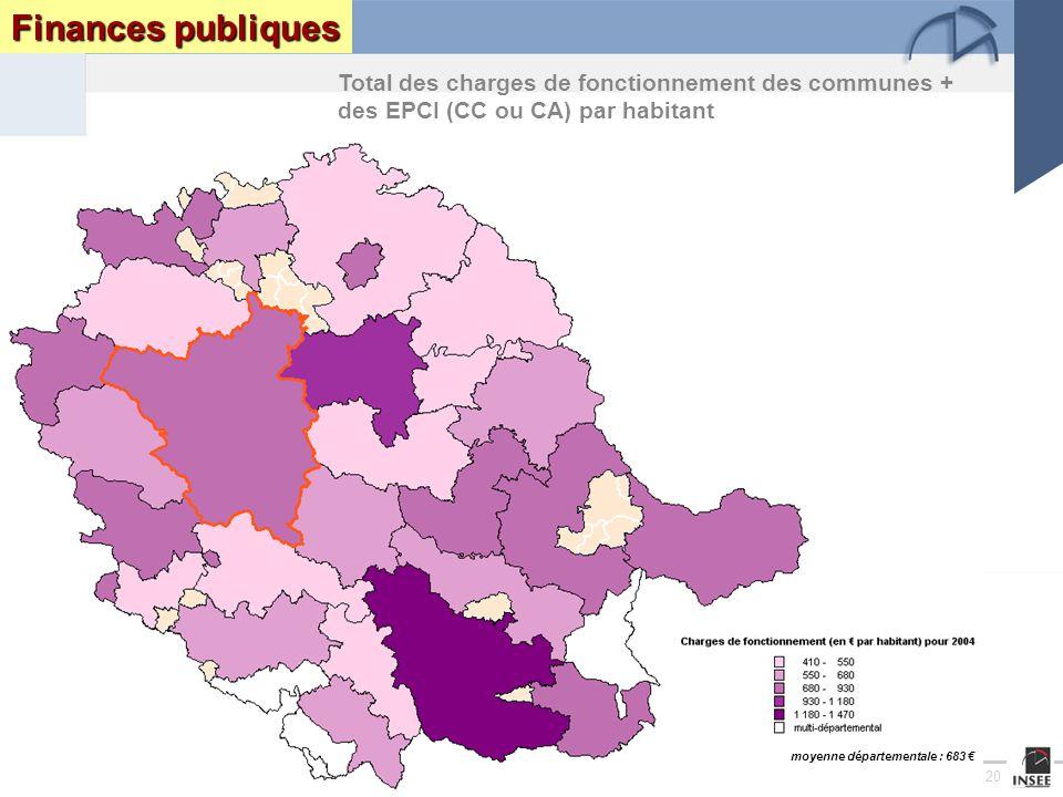 Page 20 Le Tarn : enjeux et perspectives DRAF DRE DIREN INSEEseptembre 2005 Finances publiques Total des charges de fonctionnement des communes + des EPCI (CC ou CA) par habitant moyenne départementale : 683