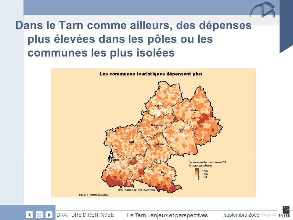 Page 22 Le Tarn : enjeux et perspectives DRAF DRE DIREN INSEEseptembre 2005 Dans le Tarn comme ailleurs, des dépenses plus élevées dans les pôles ou les communes les plus isolées
