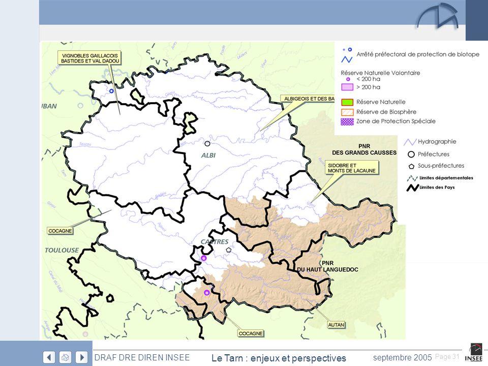 Page 31 Le Tarn : enjeux et perspectives DRAF DRE DIREN INSEEseptembre 2005