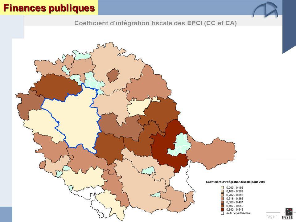 Page 4 Le Tarn : enjeux et perspectives DRAF DRE DIREN INSEEseptembre 2005 Finances publiques Coefficient d intégration fiscale des EPCI (CC et CA)